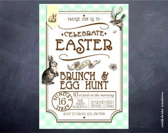 Easter Brunch Egg Hunt Invitation Digital Printable
