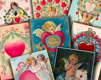 2.5x3.5 inch BE MY VALENTINE Digital Printable collage sheet for Tags Cards Paper Crafts Magnets...Cupids Hearts Whimsy
