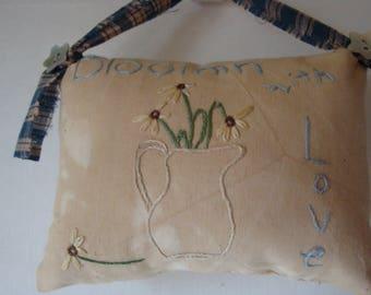 Mini primitive pillow, blooming flowers primitive pillow, prim pillow tuck, embroidery hand stitched primitive pillow