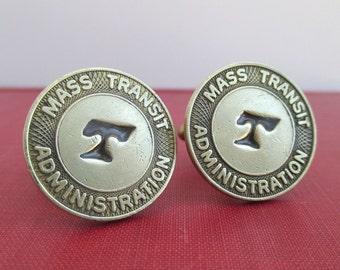 BALTIMORE Transit Token Cuff Links - Vintage Maryland Repurposed Coins