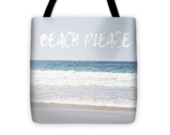 Beach Please Tote - Beach Tote - Reusable Grocery Bag - Market Bag - Shopping Bag - Modern Art Tote - Art Tote Bag - Blue and White Tote