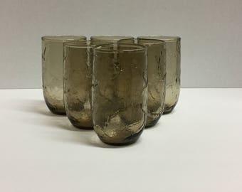 Vintage Anchor Hocking Juice Glasses Set of 6 Brown Smokey Brown Leaf Brown Leaves Juice Glass