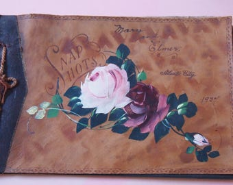 Vintage PHOTO ALBUM 1937 Snap Shots Leather Hand PAINTED Roses Atlantic City Souvineir Un-Used