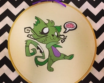 Zombie kitty embroiderd Wall Art