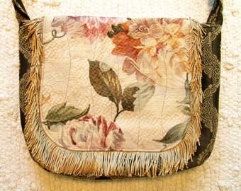 Boho Shabby Chic Gypsy Mori Girl Tapestry Fringe Cross Body Messenger Bag