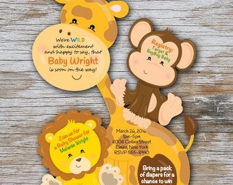 40 CUSTOM Baby Shower Invitation Giraffe Baby Invitations Jungle Invitation Giraffe Safari Baby Invitations Giraffe Monkey Jungle Safari