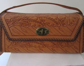 Vintage 1950s Box Tooled Leather Purse
