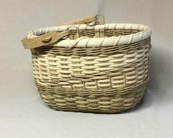 Swing Handled Basket, Hand Woven, Natural and Tan, Pine Wood Base, Oak Swing handle