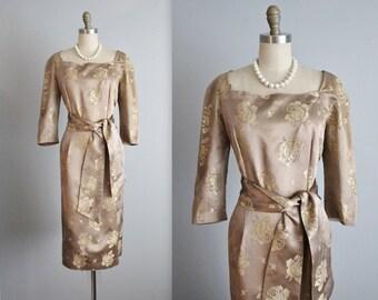50's Cocktail Dress // Vintage 1950's Gold Floral Brocade Cocktail Party Evening Dress L