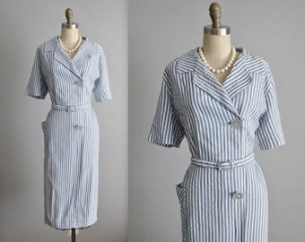 50's Seersucker Dress // Vintage 1950's Blue White Striped Casual Day Dress Shirtwaist House Dress XL Volup