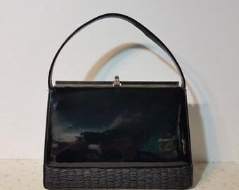 1950's Black Handbag Pin Up Purse Top Handle Vintage Purse
