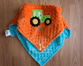 Personalized Baby Gifts, Personalized Minky Security Blanket, Tractor Blanket, Appliqued Baby Blanket, Appliqued Minky Doll Blanket