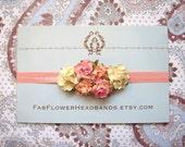 Peach Pink Yellow Cream Flower Crown - Newborn Photo Prop - Floral Headband - Flower Girl Flower Crown Headband - Half Flower Crown