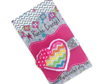 Heart hair clip, Rainbow hair clip, chevron hair clip, baby hair clip, toddler hair clip, hair accessory, baby accessory, baby barrettes