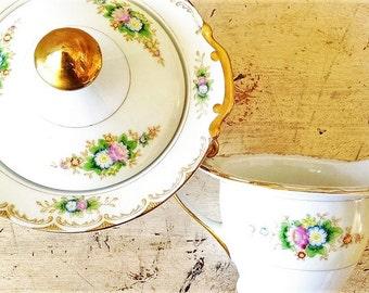 Porcelain Sugar Creamer Set, Marked Spencer Japan, Gold Trim, Vintage 1950