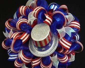 10% OFF RWB Memorial or Labor Day Wreath, 4th of July, Veterans Day, Rwb, Poly Mesh Wreath (790)