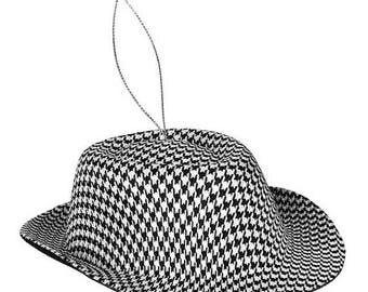 15% OFF Houndstooth Hat Ornament XY6633, Fedora Style Hat, Wreath Decor, Christmas Tree Decor, Decorations