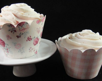 Cupcake Wrappers Reversible Rose Print, Cupcake Containers, Cupcake Decorations, Weddings, Mother's Day- QTY. 12