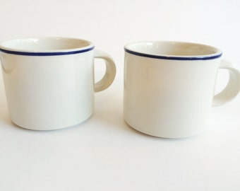 White with Blue Stripe mugs