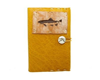 Small Leather Journal with Brown Trout in Honey Ginger