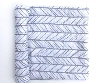 Muslin Swaddle Blanket- GRAY HERRINGBONE- receiving blanket- gray swaddle blanket- cotton blanket- baby blanket- newborn wrap