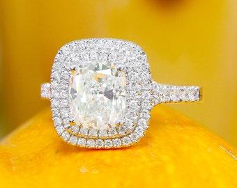 18K White Gold Cushion Cut Diamond Engagement Ring Soleste Style, Anniversary, Wedding, Propose, Double Halo, Prong Set 2.20ct G-VS2 EGL US