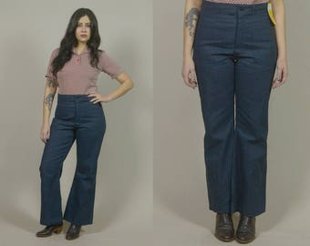 High Waisted Bell Bottoms 70s Seafarer Jeans Dark Blue Denim Wide Leg 1970s Hippie Boho Trousers Patch Pockets Deadstock / Size L Large