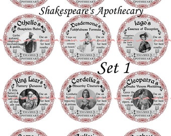 "Apothecary Labels, Shakespear Labels, apothecary labels pins or magnets,  1"" or 2.25"" Pins or Magnets Available, Gift Sets, Party Favors"