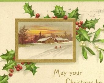 Fresh Fallen Snow Country Farm Scene at Sunset Antique Christmas Postcard 1907 UDB card from International Art Publishing