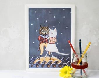 Owl and the Pussycat illustration print. Unframed A4. Owl and Cat art. Nursery art/ childrens bedroom decor/ living room wall art/ romantic