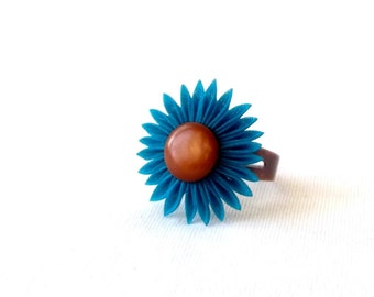 Teal and Brown Flower Cocktail Ring Tsumami Kanzashi Folded Fabric Origami Fiber Art