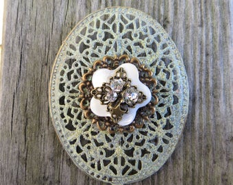 Shabby Style Filigree HandPainted Decorative Magnet Oval Filigree Magnet Office Decor Kitchen Decor Large Oval Magnet Sparkly and Unique