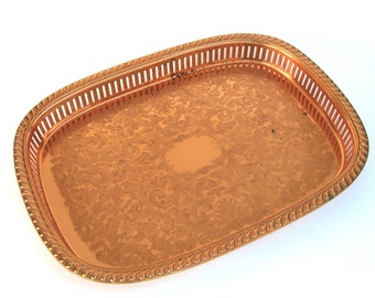 Vintage Copper Gallery Tray, Bar Barware Decanters, Moscow Mules, Openwork Reticulated Serving, Mid Century