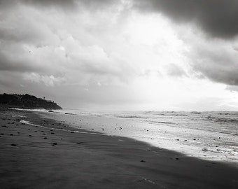 "Black and white beach art, Stormy Beach, Beach Landscape, Black and white wall art, Beach House, Beach Art, Coastal Living, ""Dark Storm"""