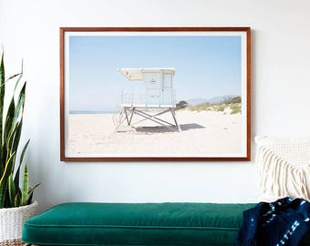 Framed Beach Photography Print, Oversized Wall Art, Large Print, Beach Decor, Lifeguard Tower, Coastal Blue, Pastel, Summer, Framed Art