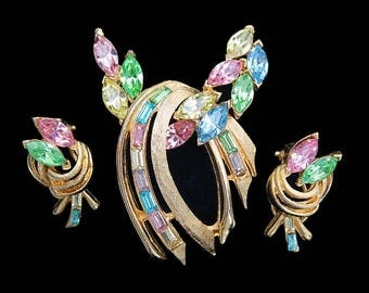 Vintage Multi-Colored Navette Gold-Plated Abstract Brooch and Earring Set