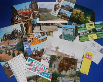 Vintage Paper Ephemera, 25 + Pieces, Postcards, Bookmarks, Etc.