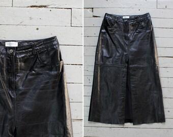 Black Leather Skirt L • 90s Skirt • Maxi Skirt with Pockets • Black Maxi Skirt • Tea Length Skirt • High Waisted Skirt  | SK578