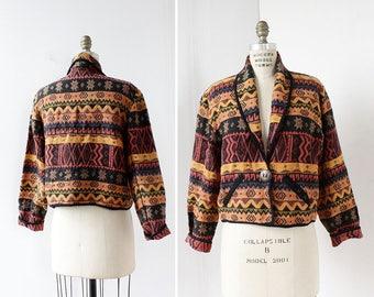 Tribal Jacket M • 90s Jacket • Cropped Jacket • Tapestry Jacket • Vintage Jacket • Spring Jacket • Cotton Jacket | O420