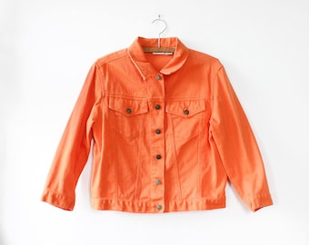 Orange Jean Jacket M • 90s Denim Jacket • Orange Jacket • Colorful Jacket • Vintage Denim Jacket • 90s Jacket  | O435