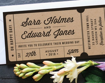 Rustic Recycled Ticket Wedding Invitation / 'Just the Ticket' Kraft Wedding Invite Admission Ticket / Destination Wedding / ONE SAMPLE