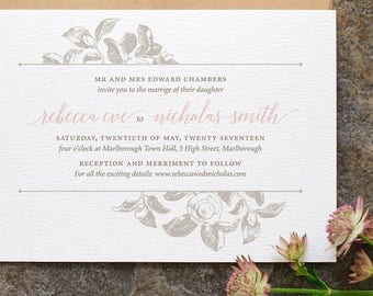 Botanical Wedding Invitation / 'Vintage Rose' Modern Calligraphy Classic Wedding Invite  / Dusty Rose Blush Pink Light Grey / ONE SAMPLE