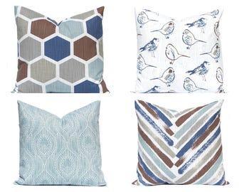 Blue Pillow Covers - Designer Pillow Covers - Living Room Decor - Decorative Throw Pillow Covers - Sofa Pillow Covers - Four Prints