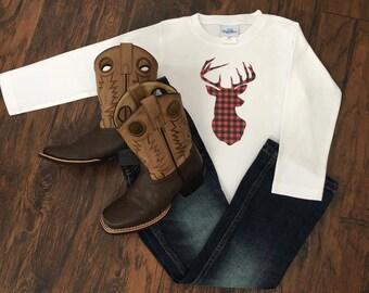 Plaid deer head winter themed long sleeve T-shirt