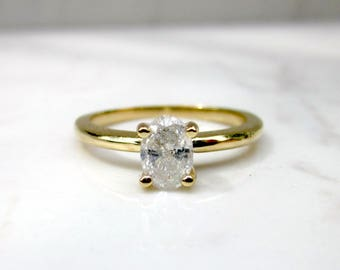 Classic Diamond Solitaire .61 Oval in 14k Solid Yellow Gold 4 Prong Thin Band Setting Band, Size 7