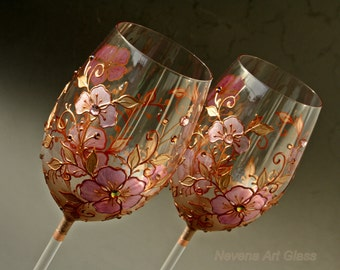 Wine Glasses, Hand Painted Wine Glasses, Rose and Copper Glasses, Wedding Glasses, Set of 2