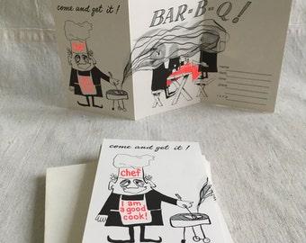 Vintage bbq invites  party invites  paper ephemera