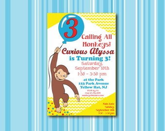 Curious George Invitation / Kid's Birthday Party / Calling all Monkeys / Balloon / Primary Colors / Child Birthday Invite (Printable)
