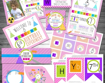 Science Girl Birthday Party Package, Printable File, Boys Science Birthday, Science Party, Science Birthday Invitation, Science Party Decor