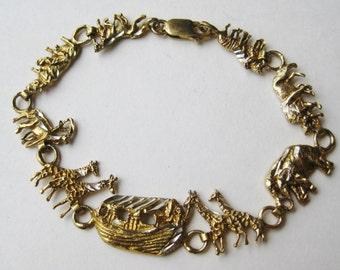 Vintage Gold Vermeil Sterling Silver Noah's Ark Biblical Genesis Theme Chain Link Bracelet